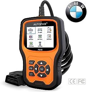 AUTOPHIX BMW Diagnostic Scanner Tool ,Enhanced BMW 7910 Multi-System OBD2 Scanner Auto Fault Code Reader with Battery Registration for All BMW After 1998