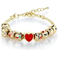 MANBARA Bracelet Fille Bracelet en Perles Bracelet Emoji Charmant pour Les Enfants Longueur Réglable Coeurs en émail Coeur Cadeaux Bijoux Anniversaire Noël DIY