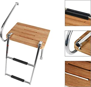 DasMarine Universal Outboard Teak Wooden Swim Platform Under Mount Fold Down 2 Step 316 Stainless Steel Ladder with Single Handrail(Mounting Screws are Included)