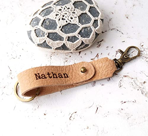 Personalized Valentines Day Genuine Leather Keychain