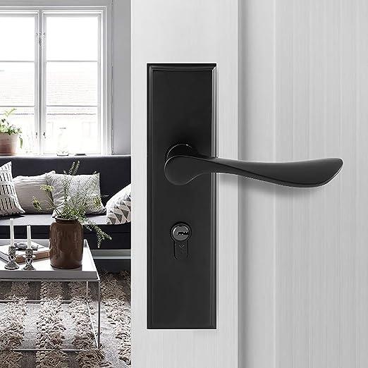 aleaci/ón de zinc color negro 3 llaves de cobre cerradura de palanca europea Manilla para puerta Qrity cilindro cerradura de 2 palancas