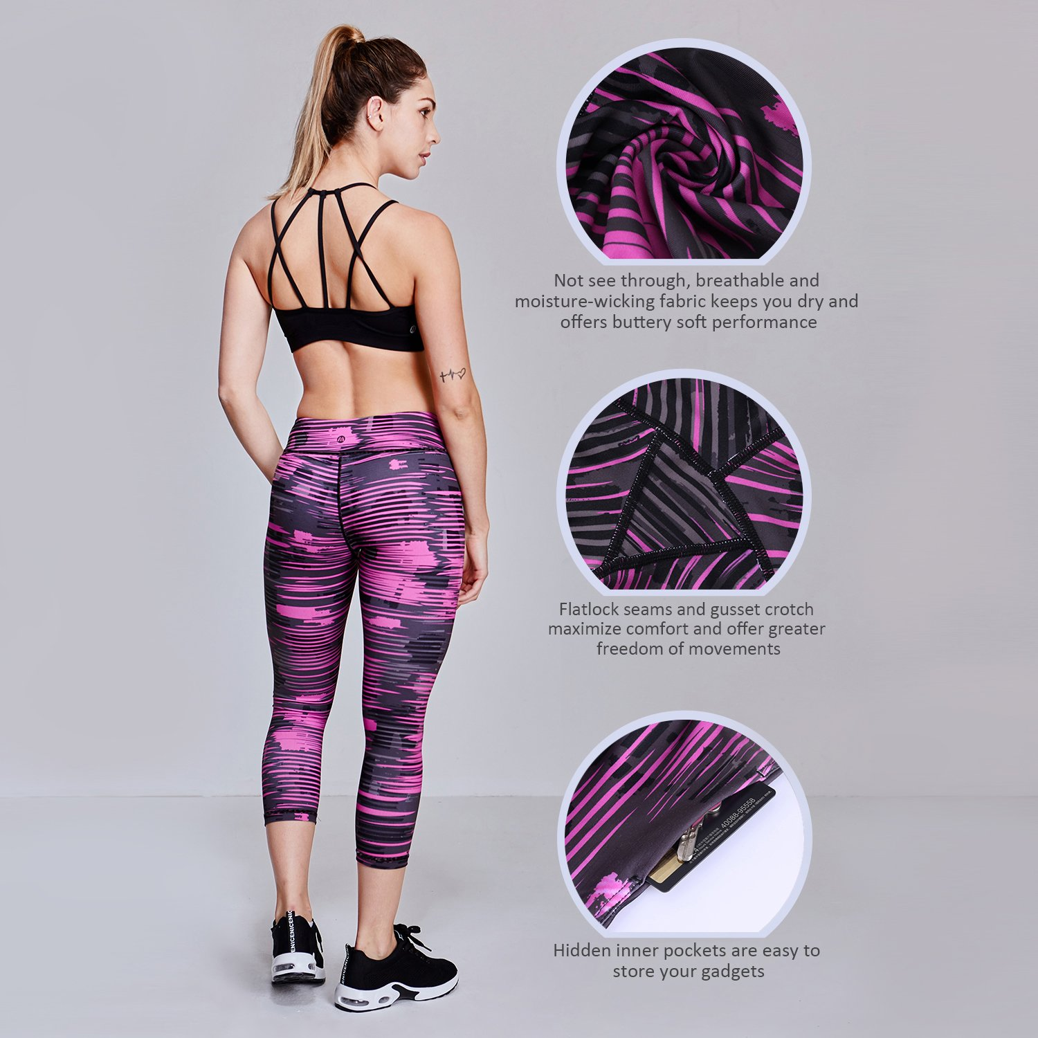 Matymats Women's Tummy Control Printed Yoga Capri Leggings Workout Running Active Pants Tights