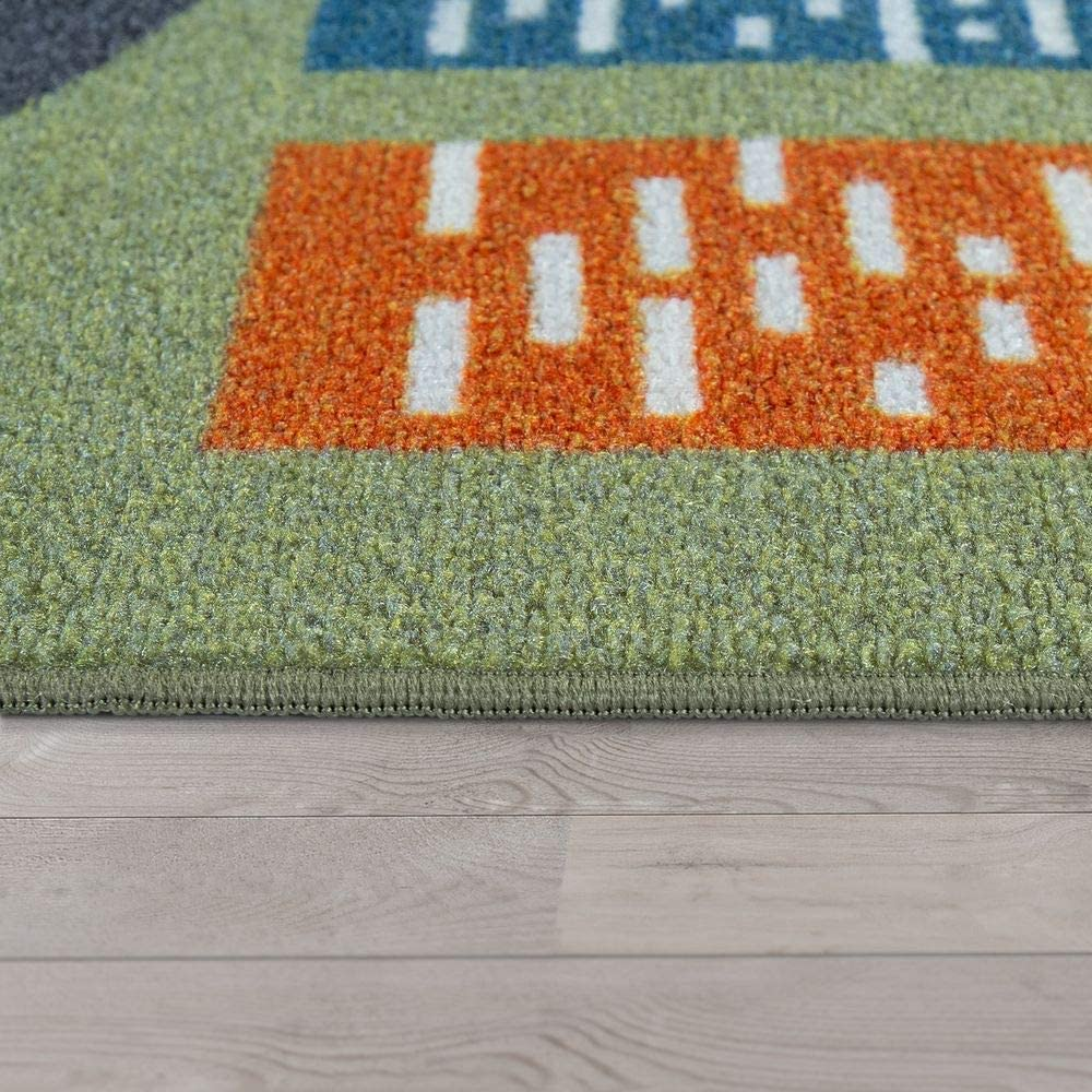 Paco Home Tapis pour Enfants Dimension:80x150 cm en Vert Tapis de Jeu pour Chambres denfants avec Motif de Rue