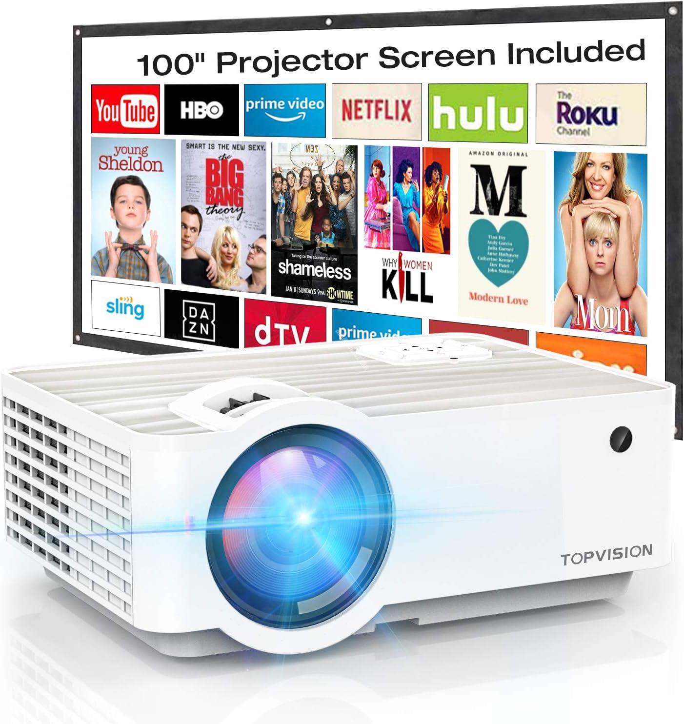Proyector de vídeo, TOPVISION 4500Lux Mini proyector portátil con ...