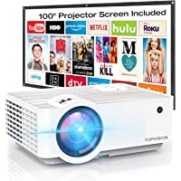"Video Projector, TOPVISION 4500Lux Portable Mini Projector with 100"" Projector Screen, 1080P Supported, Built in HI-FI Speakers, Compatible with Fire Stick, HDMI, VGA, USB, TF, AV, PS4"