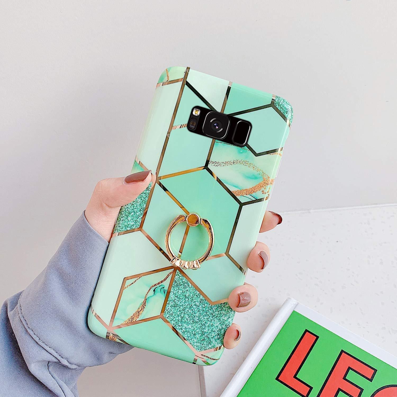 Herbests Compatibile con Samsung Galaxy S8 Cover Morbida Silicone Sottile Custodia TPU Protettiva Case Cover con Anello Supporto Marmo Custodia Antiurto Slim Soft Case,Rosa Bianco