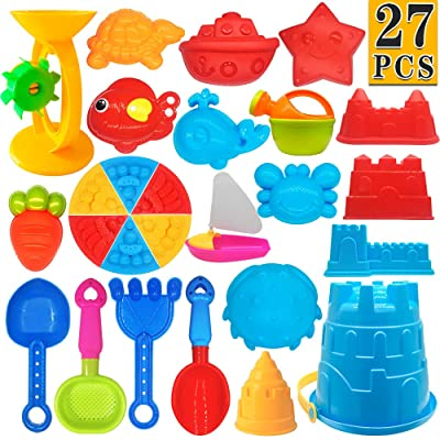 ToyerBee Beach Toys- 27 Pcs Sand Toys Set with Mesh Bag Including Sand Water Wheel, Bucket, Shovels, Rake, Sifter and Molds, Summer Outdoor Beach Sand Toys for Boys, Girls,Toddlers and Kids: Toys & Games