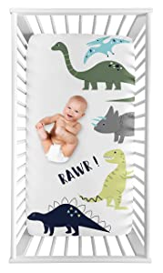Sweet Jojo Designs Mod Dino Boy Fitted Crib Sheet Baby or Toddler Bed Nursery Photo Op - Blue, Green and Grey Rawr Modern Dinosaur