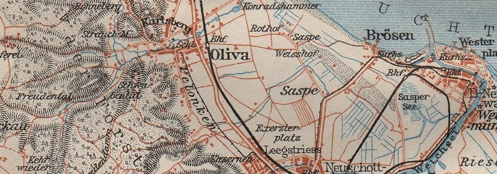 BAEDEKER 1910 Poland mapa GDANSK /& environs Zoppot Sopot Danzig Gda?sk