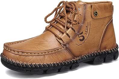 gracosy Herr läder ankelstövlar vinter päls fodrade varma loafers skor handsydda vardagliga platta promenadstövlar vattentäta utomhus halkfria snörning stövlar formella affärer arbete körning skor