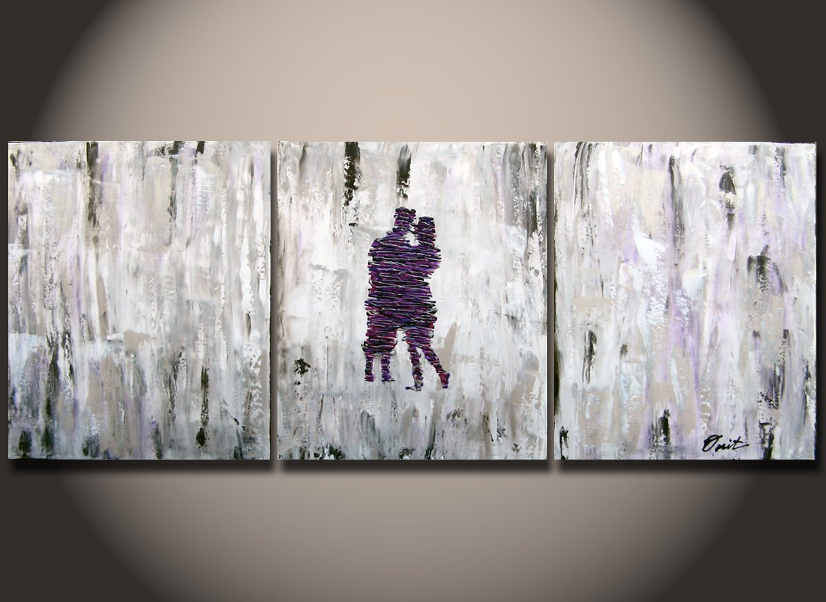 Original oil painting: couple painting for lovers bedroom abstract original art handmade by Orita Large painting with acrylic on canvas Modern art for wedding, new couple or parents bedroom Love Gift