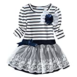 Amazon Price History for:LittleSpring Little Girls' Dress Striped Flower Long Sleeve