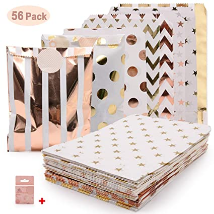 Bolsas de fiesta de oro rosa, bolsas de golosinas de papel SPECOOL con pegatinas de bolsa Bolsa de refrigerios a prueba de aceite Boda duradera ...