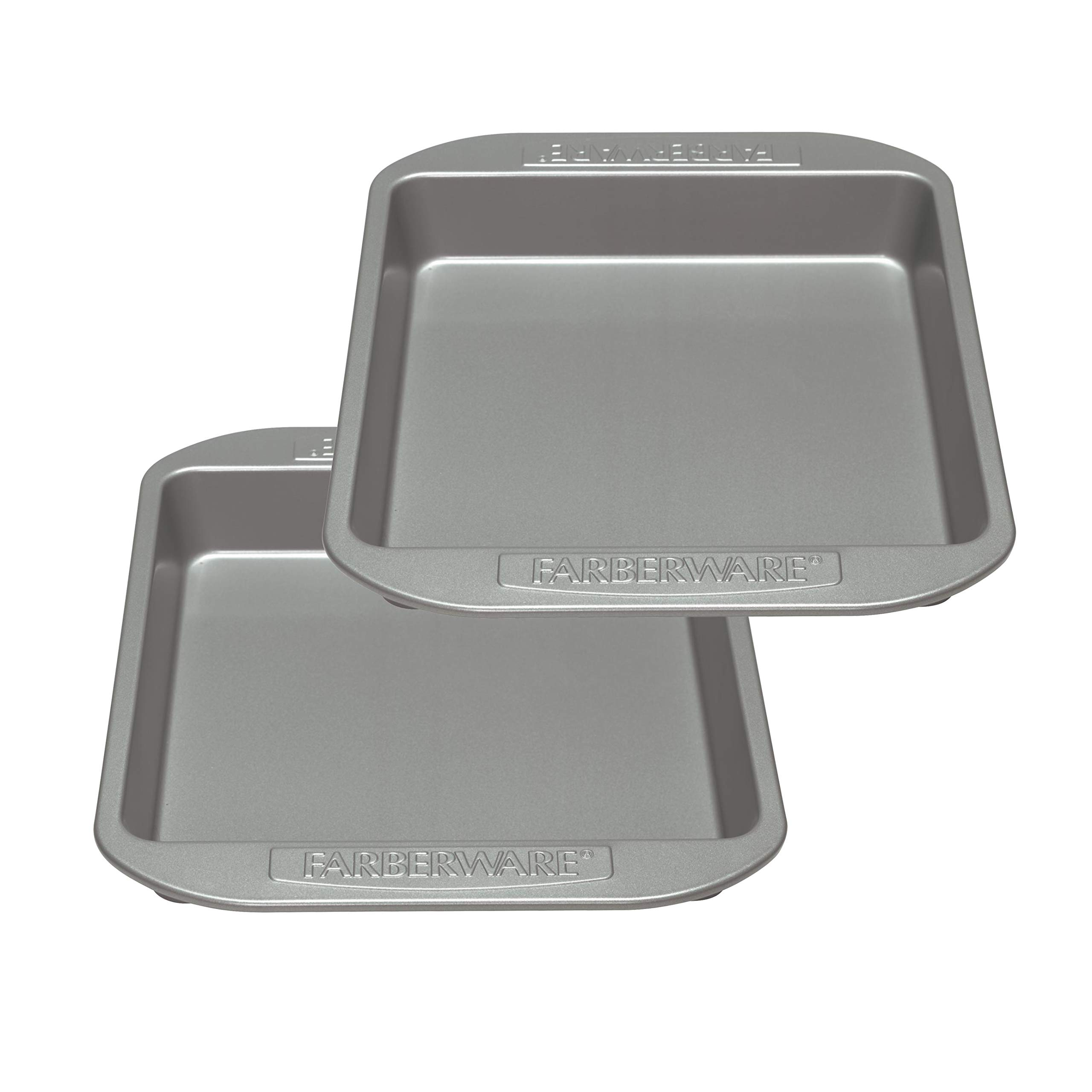 Farberware 47744 2-Piece Rectangular Set Steel Cake Pan, Gray