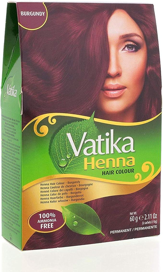 Vatika Tinte de pelo de henna burdeos, 60 g (paquete de 6 ...