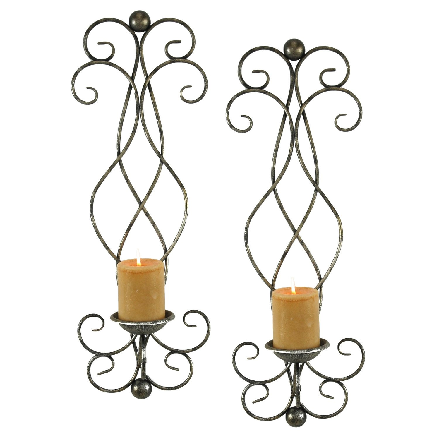 Metal Scroll Wall Candle Sconce Rustic Antique Vintage Unique Decor, Set of 2