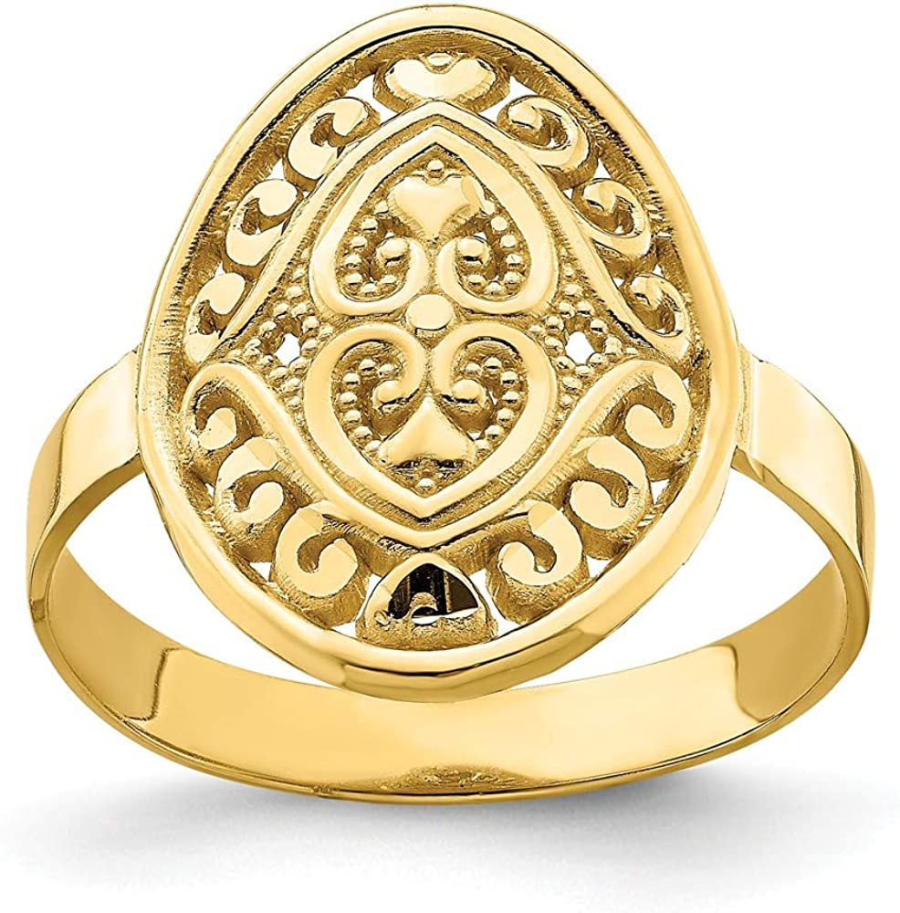 14k Yellow Gold Oval Shield Double Hearts Band Ring Size 7.00 S//love Fine Jewelry For Women Gifts For Her