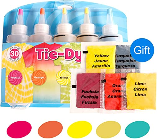 Tie-Dye Kits Neon lino y algodón ropa tintes 5 Color 1 Set
