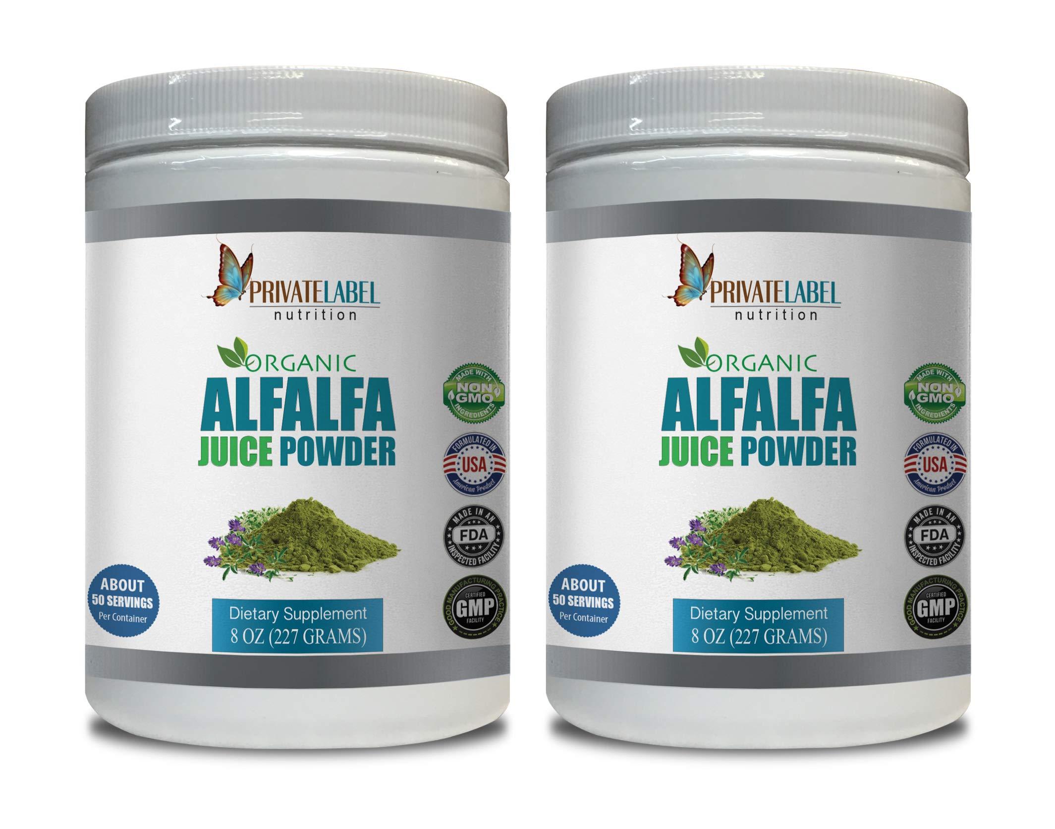 Immune System for Adults - Alfalfa Juice Organic Powder - Alfalfa Organic Powder - 2 Cans 16 OZ (100 Servings)