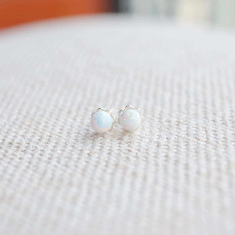 Opal Birthstone Solitaire Ball 925 Sterling Silver Stud Earrings