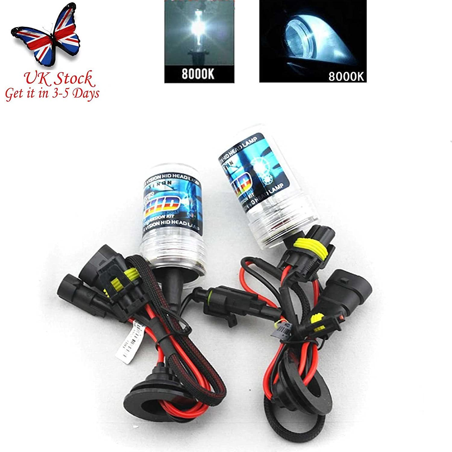 Autofather 55W 9006 (HB4) HID Xenon Headlight Replacement Bulbs-2 Pcs Bulbs 8000K Blue&White Color BoHao