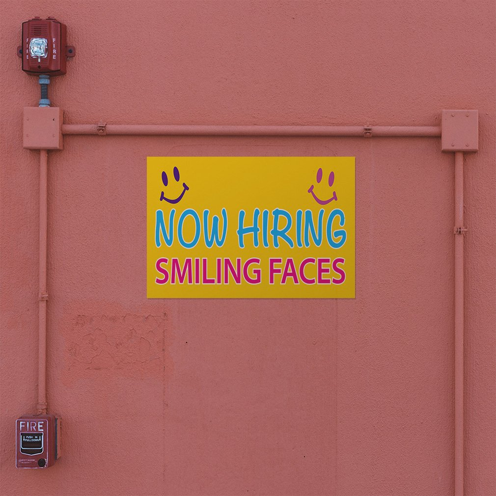 Decal Sticker Multiple Sizes Now Hiring Smiling Faces #1 Style A Business Now Hiring Smiling Faces Outdoor Store Sign Yellow 48inx32in Set of 5