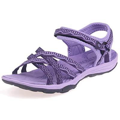 GRITION Women Hiking Sandals Wide Outdoor Girl Sport Summer Flat Beach Water Shoes Open Toe Adjustable Walking Shoes | Sport Sandals & Slides