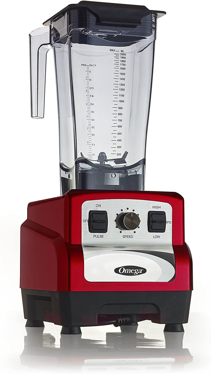 Omega Juicers 3 Peak HP Blender, 64 oz, Red