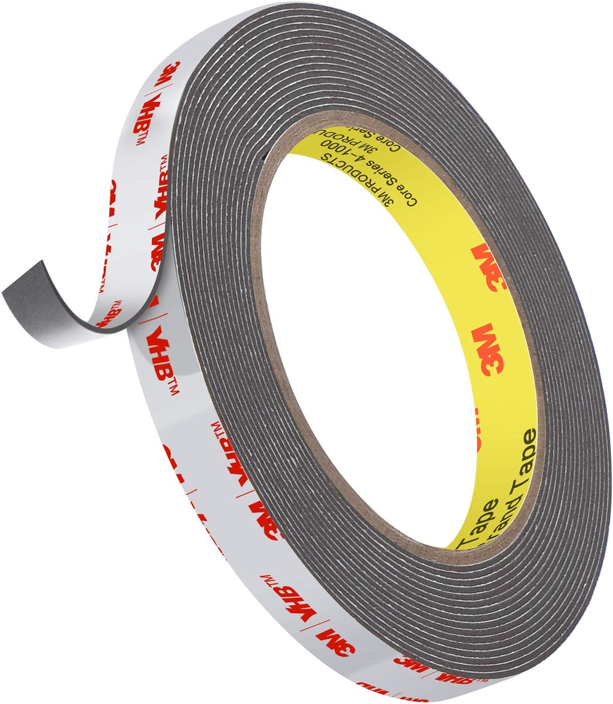 3M Double Sided Tape, 4941 Heavy Duty Mounting Waterproof VHB Foam Tape, 16FT Length, 0.4 Inch Width for Car Decor, Home Decor and Office Decor