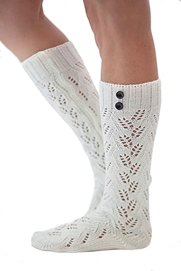 8da82877b The Luxe 2 Button Knit Boot Socks Super Thick and Comfy by Modern Boho  Ivory at Amazon Women s Clothing store