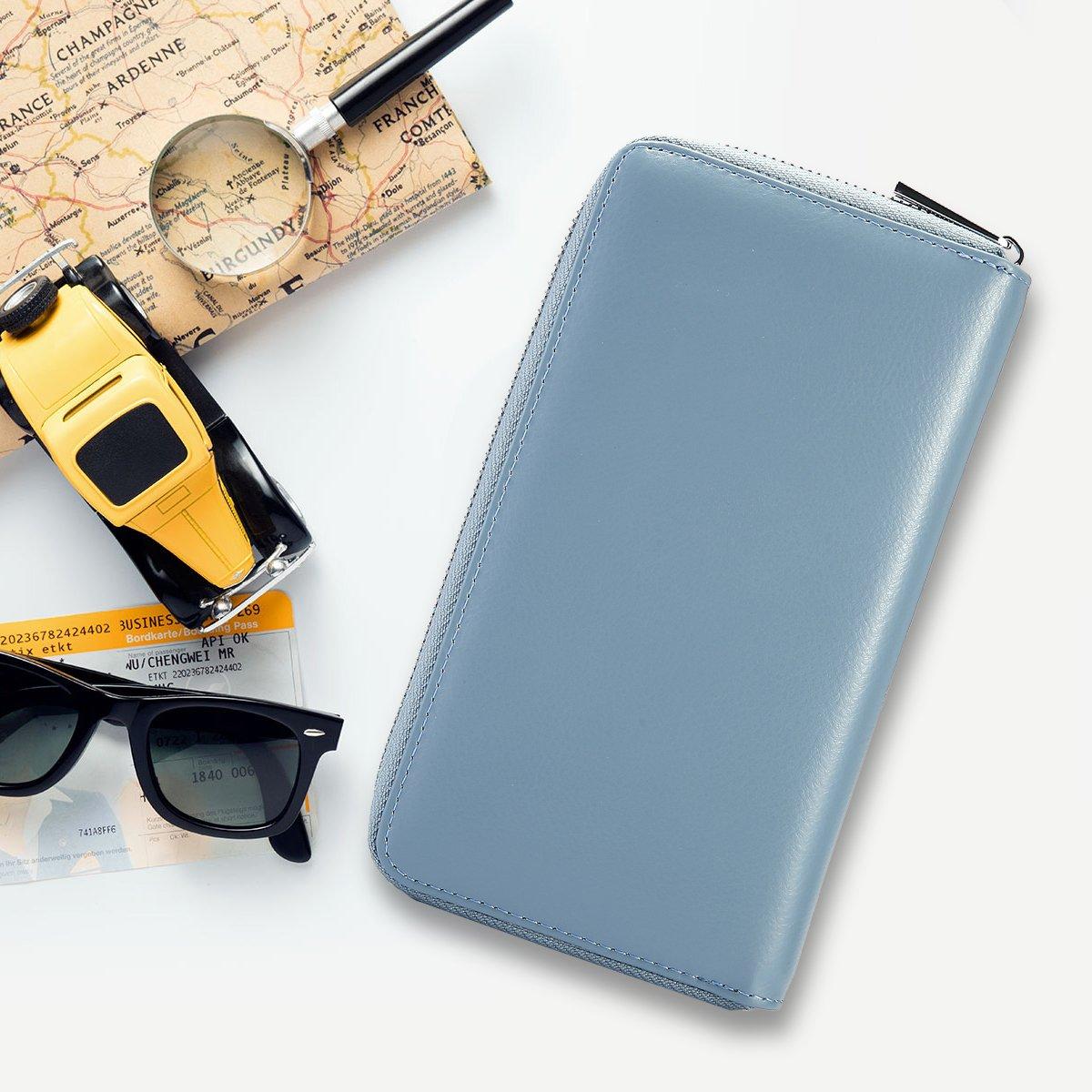 Portatarjetas,JOSEKO RFID Antimagn/ético Piel Genuina 36 Ranuras para Tarjetas 6 Pulgadas Bolsa de tel/éfono Portatarjetas Billetera Larga
