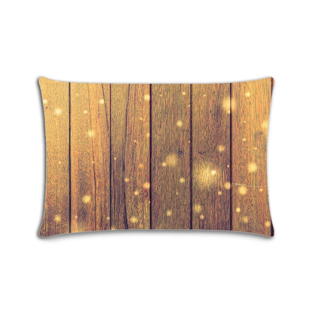 Custom Solid Wood Floor Cotton Polyester Pillowcase Pillow Cover With Zipper Queen Size 20x30 (Twin Sides)
