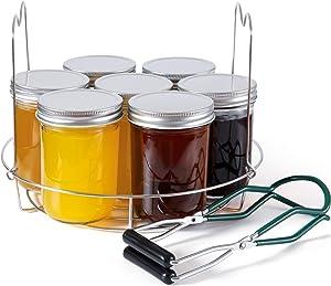 Eeoyu 2 Pieces Canning Rack with Canning Jar Lifter, Stainless Steel Canning Jar Lifter with Canning Jar Rack for Regular and Wide Mouth Mason Jars Steamer Rack Trivet Stand for Pressure Cooker