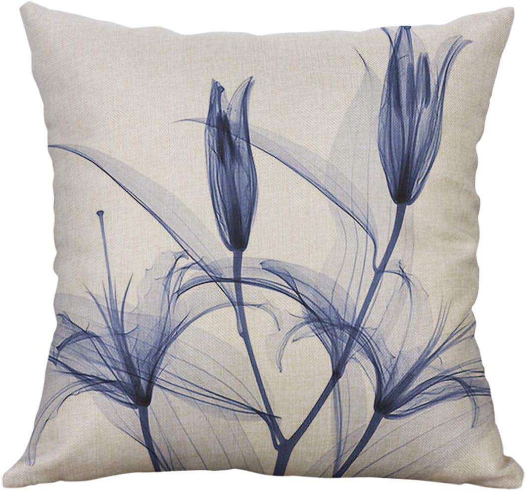 A Colorful Flower Print Decorative Standard Size Printed Pillowcase 18x18 inches Sofa Waist Cushion Cover Alixyz Pillow Case