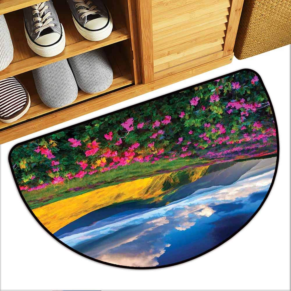Inlet Outdoor Door Mat, Floral Custom Out-Imdoor Rugs for Kitchen, Watercolor Style Pink Rhododendron Flowers and Mountain in Summer (Earth Yellow Pink and Blue, H24 x D36 Semicircle)