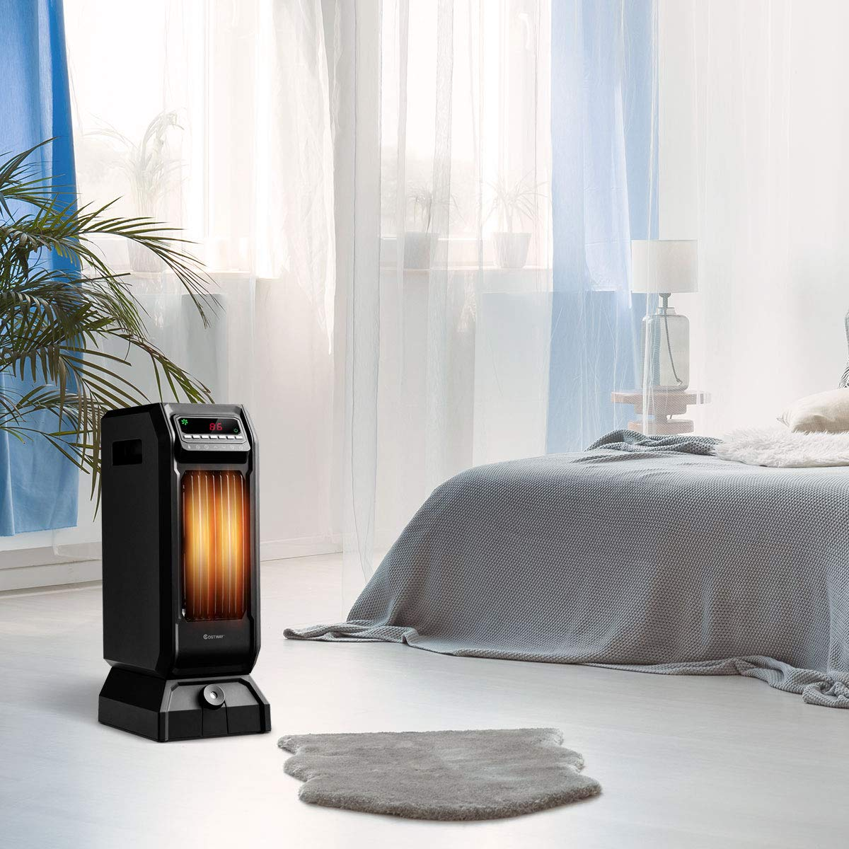COSTWAY Electric Space Heater, Portable Infrared Quartz Heater, Digital Ceramic Heater with Remote, Digital Thermostat, 12H Timer, 1500 or 750 Watt Quiet and Fast Heating for Home and Office
