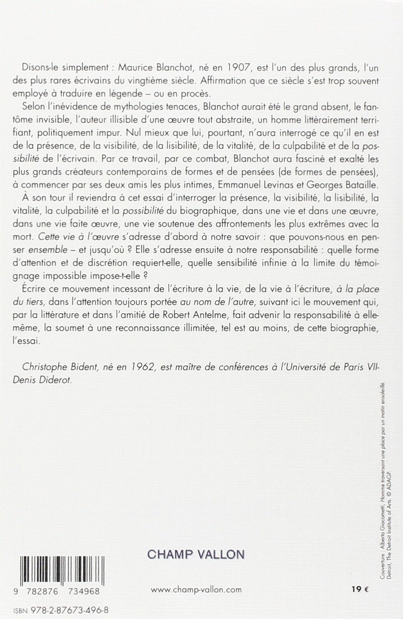 Maurice Blanchot : Partenaire invisible: Christophe Bident: 9782876734968: Amazon.com: Books