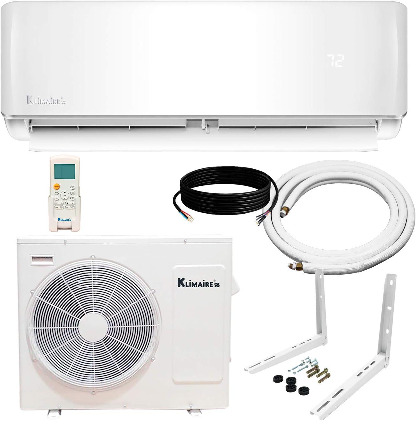 Klimaire 18,000 BTU 21 SEER Ductless Mini-Split Inverter Air Conditioner Heat Pump System with 15 ft Installation Kit (230 Volt) Wi-Fi Ready
