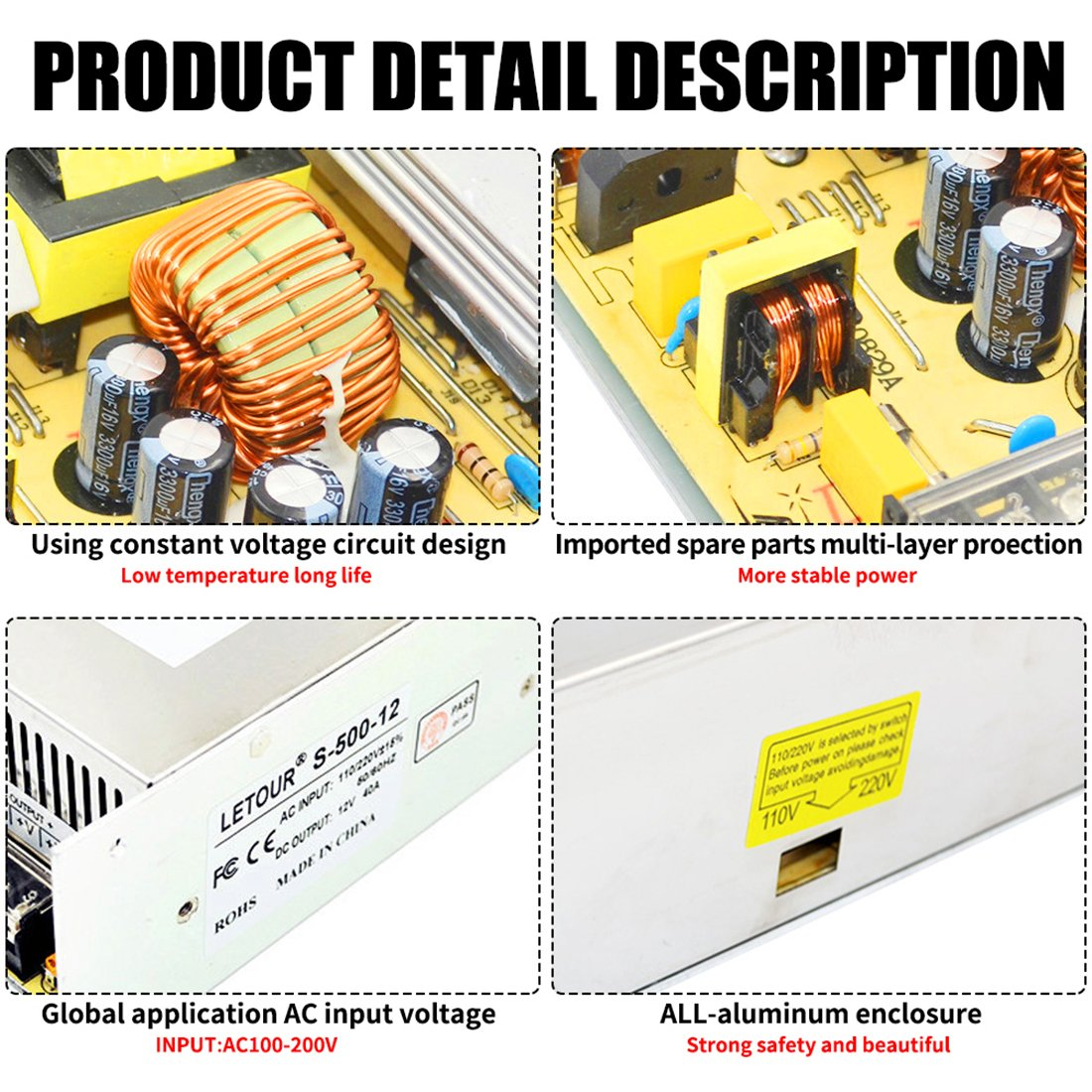 Dc 12v Power Supply 40a Ac 96v 240v Converter Adapter 60a Circuit Diagram Universal Regulated Switching 12volt 500w Led For Strip