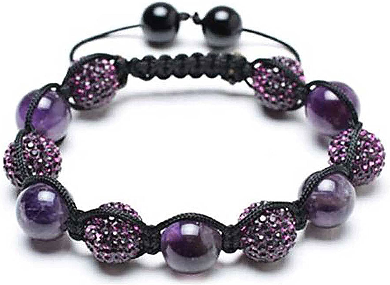 Bling Jewelry - Pulsera con cuentas de hematita, diseño de bola de cristal de Shamballa, color morado, negro, blanco, 12 mm
