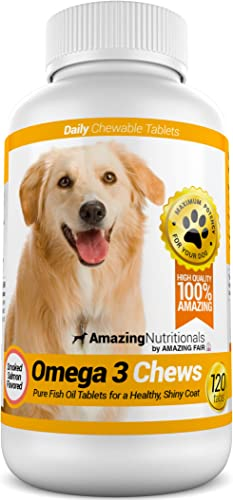 Amazing Omega for Dogs – Dog Fish Oil Pet Antioxidant for Shiny Coat, Joint and Brain Health – 120 Chews