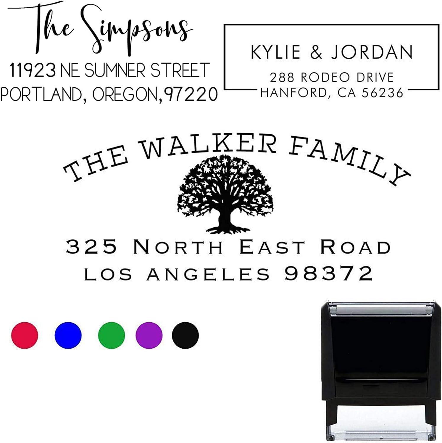 Choose Your Design! Return Address Stamp Stamper Self Inking Personalized Customized Stamp Return Address Mail 3 4 Lines. Mail Envelopes. Black Red Blue Purple Green Ink