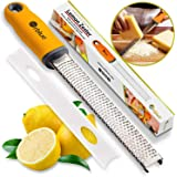 Orblue PRO Citrus Zester & Cheese Grater - Kitchen Tool for Lemon, Parmesan, Ginger, Garlic, Nutmeg, Chocolate, Veggies, Fruits - Razor-Sharp Stainless Steel Blade, Lemon Zester Grater + Protect Cover