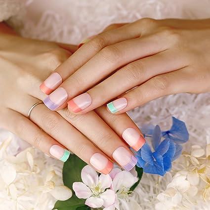 ArtPlus Uñas Postizas Falsas Artificial 24pcs Cream Rainbow False Nails with Glue Full Cover Medium Length