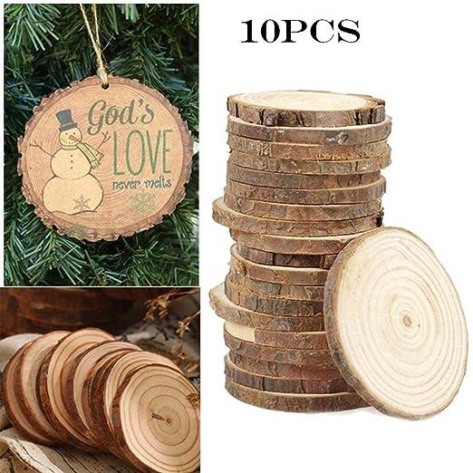 linselles 10pcs DIY Astillas de maderaDecoraci/ón navide/ña Discos de Madera Discos de Corte C/írculo Discos de Madera Manualidades Adornos