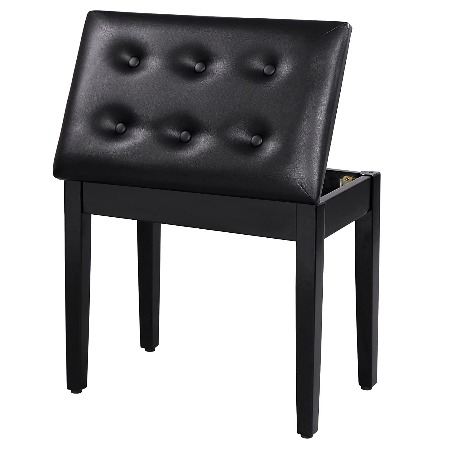 Adjustable piano chair - Amazon Com Songmics Padded Wooden Piano Bench Stool With Music Storage Black Ulpb55h Musical Instruments