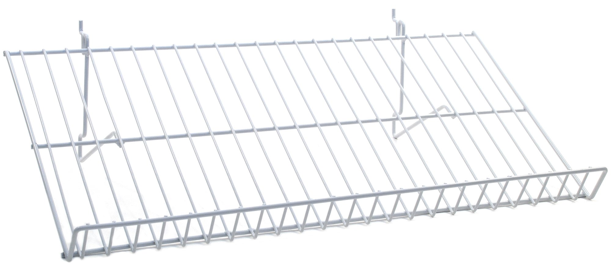 KC Store Fixtures A03061 Sloping Shelf Fits Slatwall, Grid, Pegboard, 23-1/2'' W x 12'' D, White (Pack of 6)