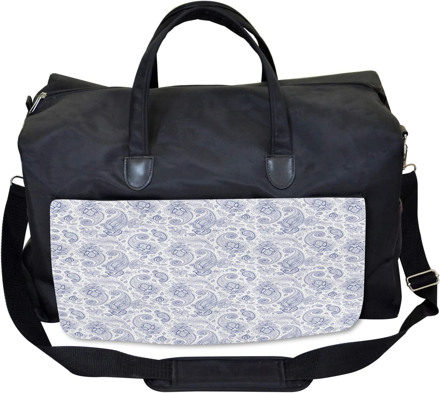 Large Weekender Carry-on Ambesonne Paisley Gym Bag Abstract Buds and Dots