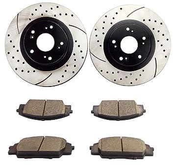 atmansta qpd10025 Kit de freno delantero con perforado/ranurada rotores y pastillas de freno de cerámica para 2002 - 2006 Acura RSX 2007 - 08 Honda Civic ...