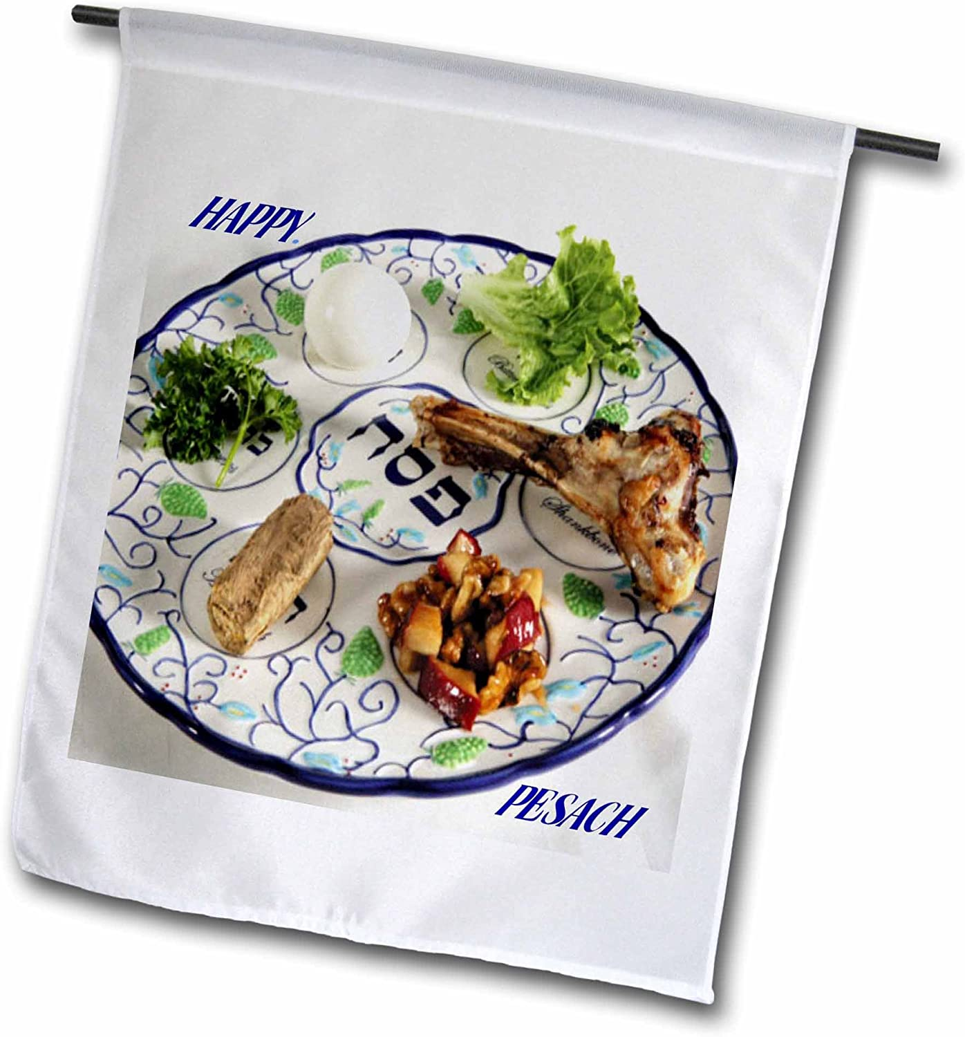 3dRose fl_37364_1 Pesach Plate with Passover Foods Garden Flag, 12 by 18-Inch